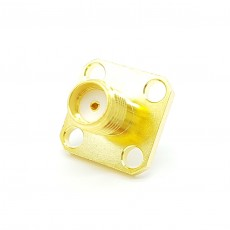 18GHz SMA(F) ST 4Hole Flange Connector-5-3mm (Gold)