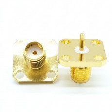 SMA(F)암컷4Hole-0-5mm Flange Connector (Gold)