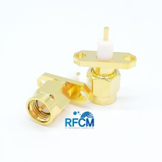 18GHz SMA(M)ST 2Hole Flange Connector-5-3mm(Gold)